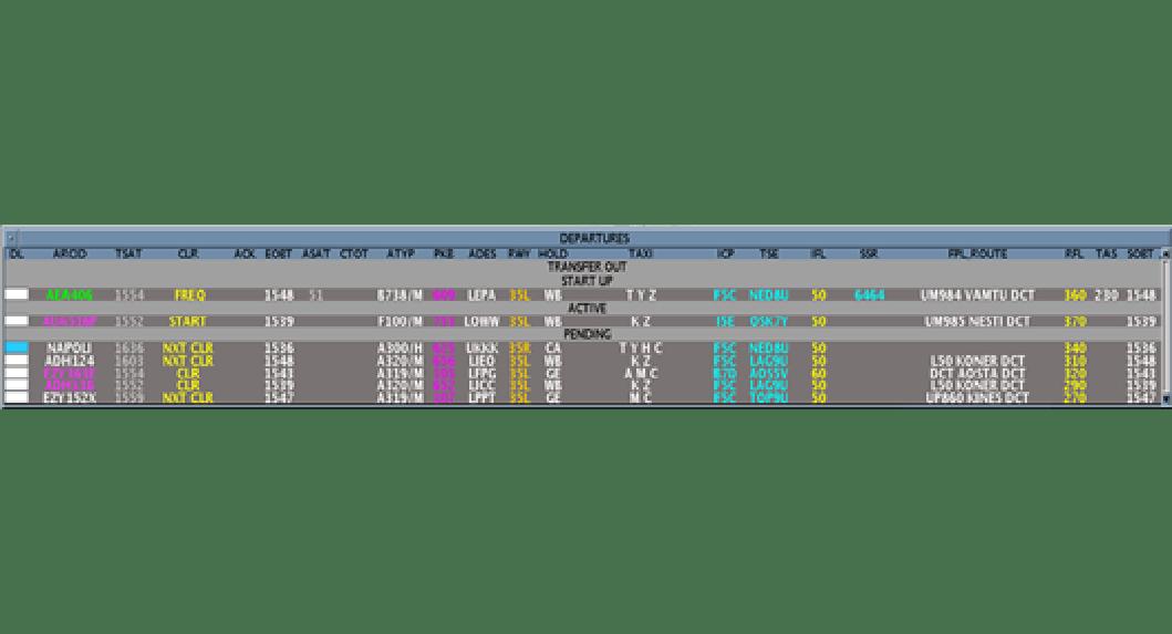 Lista delle partenze per Apron / Delivery ATCO